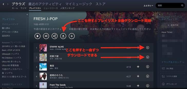 PCでAmazon Musicをオフライン再生2